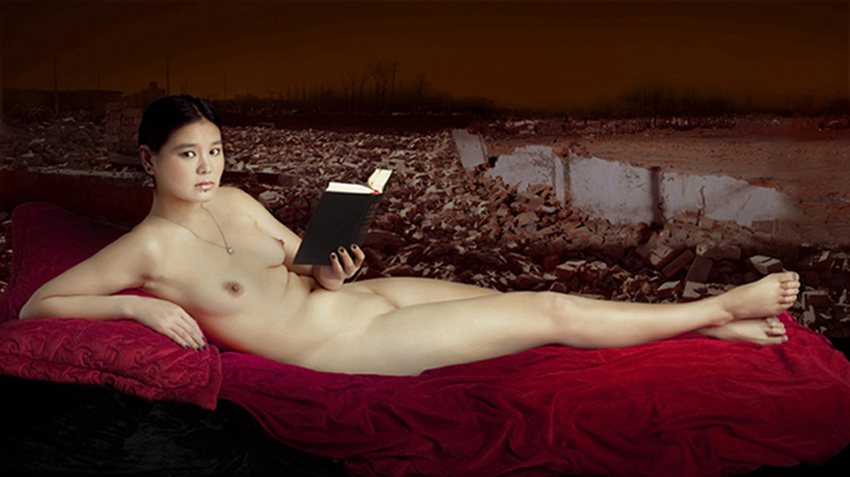 A woman with book, A woman with, 115x170 cm, fotografia digitale, C print su tela, 2011